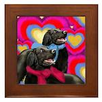 FLAT COATED RETRIEVER DOGS LOVE Framed Tile