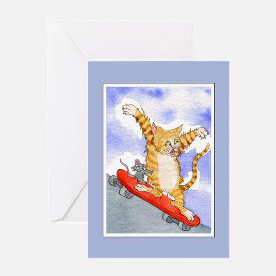 Tabby Cat & Mouse Skateboard Greeting Card