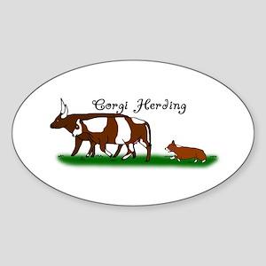 Corgi Herding Oval Sticker