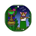 Corgi Hula Ornament (Round)