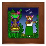 Corgi Hula Framed Tile