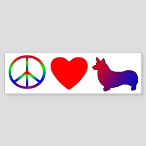 Peace, Love, Pembroke Welsh Corgi Bumper Sticker