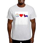 Peace, Love, Pembroke Corgi Ash Grey T-Shirt