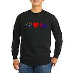Peace, Love, Pembroke Corgi Long Sleeve Dark T-Shi