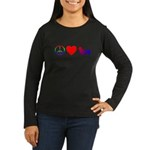 Peace, Love, Pembroke Corgi Women's Long Sleeve Da