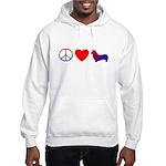 Peace, Love, Pembroke Corgi Hooded Sweatshirt