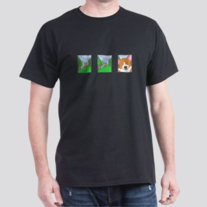 Corgi Comic Strip Black T-Shirt