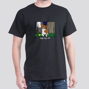 Corgi Height Dog Black T-Shirt