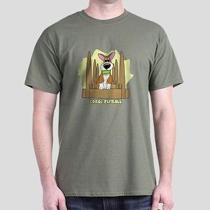 Cartoon Corgi Flyball Dark Tee Shirt
