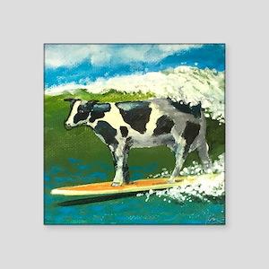 "Surfing Cow Square Sticker 3"" x 3"""
