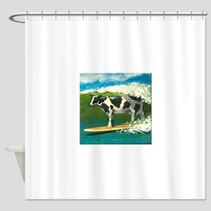 Surfing Cow Shower Curtain