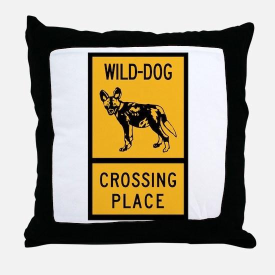 Wild Dog Crossing Place, Zimbabwe Throw Pillow