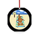 Nude Beach Corgi Ornament (Round)