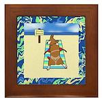 Nude Beach Corgi Framed Tile