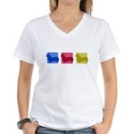 Color Row Pembroke Corgi Women's V-Neck T-Shirt