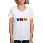 Color Row Pembroke Corgi Women's V-Neck T-Shirt