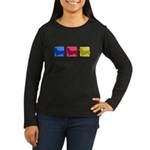 Color Row Pembroke Corgi Women's Long Sleeve Dark