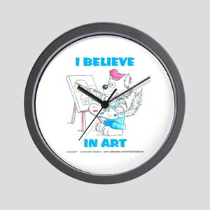 I Believe in Art Cat Wall Clock