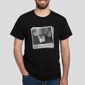 B&W Corgi Photo Dark T-Shirt