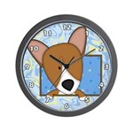 Cartoon Pembroke Welsh Corgi Wall Clock