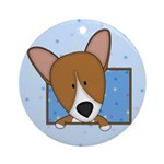 Cartoon Pembroke Welsh Corgi Ornament (Round)