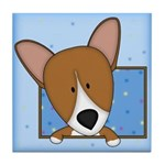 Cartoon Pembroke Welsh Corgi Tile Coaster