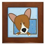 Cartoon Pembroke Welsh Corgi Framed Tile