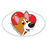 Cartoon Corgi Love Oval Sticker