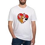 Cartoon Corgi Love Fitted T-Shirt