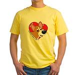 Cartoon Corgi Love Yellow TShirt