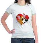 Cartoon Corgi Love Jr. Ringer T-Shirt