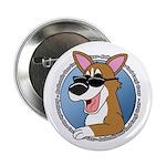 Cool Pembroke Welsh Corgi Button (Cartoon)