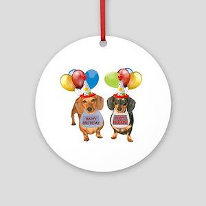 Doxie Birthday Ornament (Round)