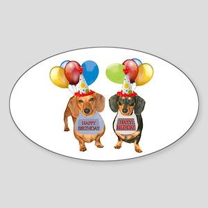 Doxie Birthday Oval Sticker