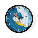 Surfing Pembroke Welsh Corgi Wall Clock
