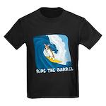 Surfing Corgi Kids Black TShirt