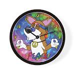 Hippie Pembroke Welsh Corgi Cartoon Clock