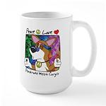 Hippie Corgi Cartoon Large Mug