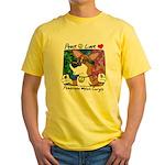 Hippie Corgi Cartoon Yellow T-Shirt