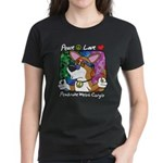 Hippie Corgi Cartoon Women's Black TShirt