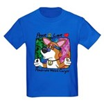 Hippie Welsh Corgi Cartoon Kids Dark TeeShirt