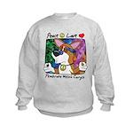 Hippie Corgi Cartoon Kids Sweatshirt