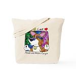 Hippie Corgi Cartoon Tote Bag