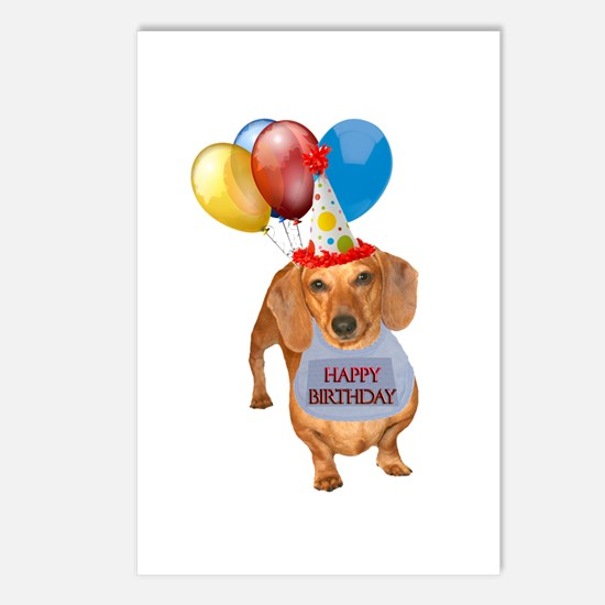 Red Doxie Birthday Postcards (Package of 8)