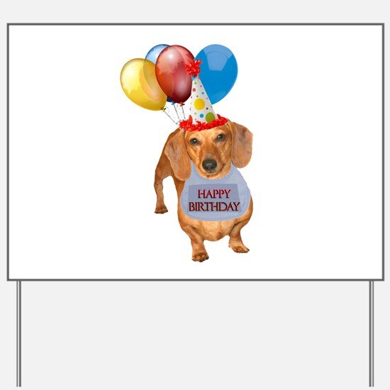 Red Doxie Birthday Yard Sign