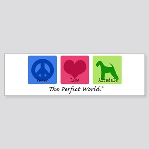 Peace Love Airedale Bumper Sticker