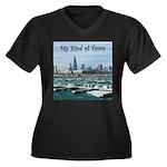 Chicago Skyline Women's Plus Size V-Neck Dark T-Sh