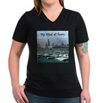 Chicago Skyline Women's V-Neck Dark T-Shirt