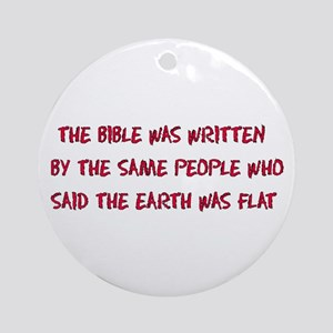 Flat Earth Bible Round Ornament