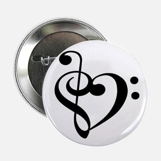 "Treble Bass Clef Heart 2.25"" Button"